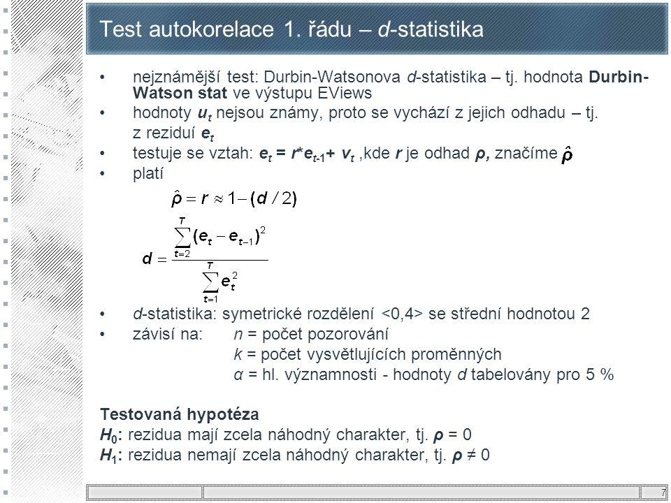 7 Test autokorelace 1. řádu – d-statistika nejznámější test: Durbin-Watsonova d-statistika – tj. hodnota Durbin- Watson stat ve výstupu EViews hodnoty