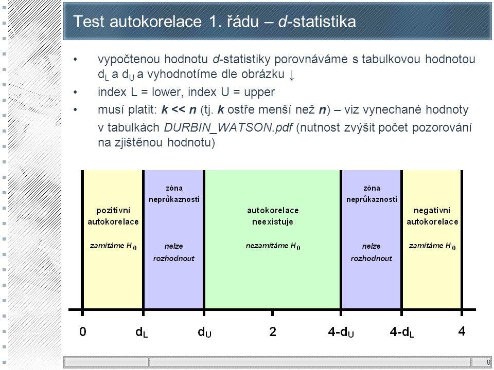 8 Test autokorelace 1. řádu – d-statistika vypočtenou hodnotu d-statistiky porovnáváme s tabulkovou hodnotou d L a d U a vyhodnotíme dle obrázku ↓ ind