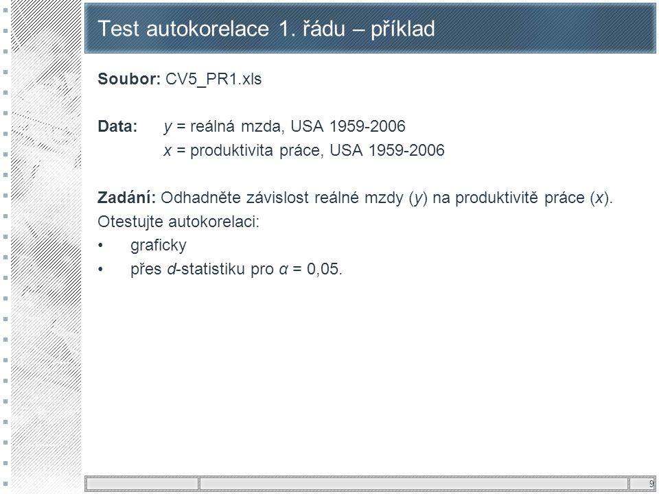 9 Test autokorelace 1. řádu – příklad Soubor: CV5_PR1.xls Data:y = reálná mzda, USA 1959-2006 x = produktivita práce, USA 1959-2006 Zadání: Odhadněte