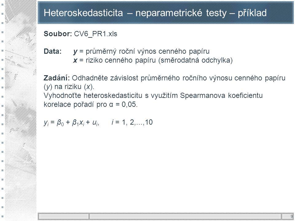 9 Heteroskedasticita – neparametrické testy – příklad Soubor: CV6_PR1.xls Data: y = průměrný roční výnos cenného papíru x = riziko cenného papíru (smě