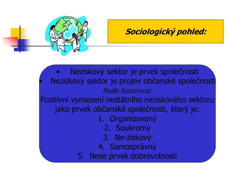 Sociologický pohled: Neziskový sektor je prvek společnosti Neziskový sektor je projev občanské společnosti Podle Solomona : Pozitivní vymezení nestátn