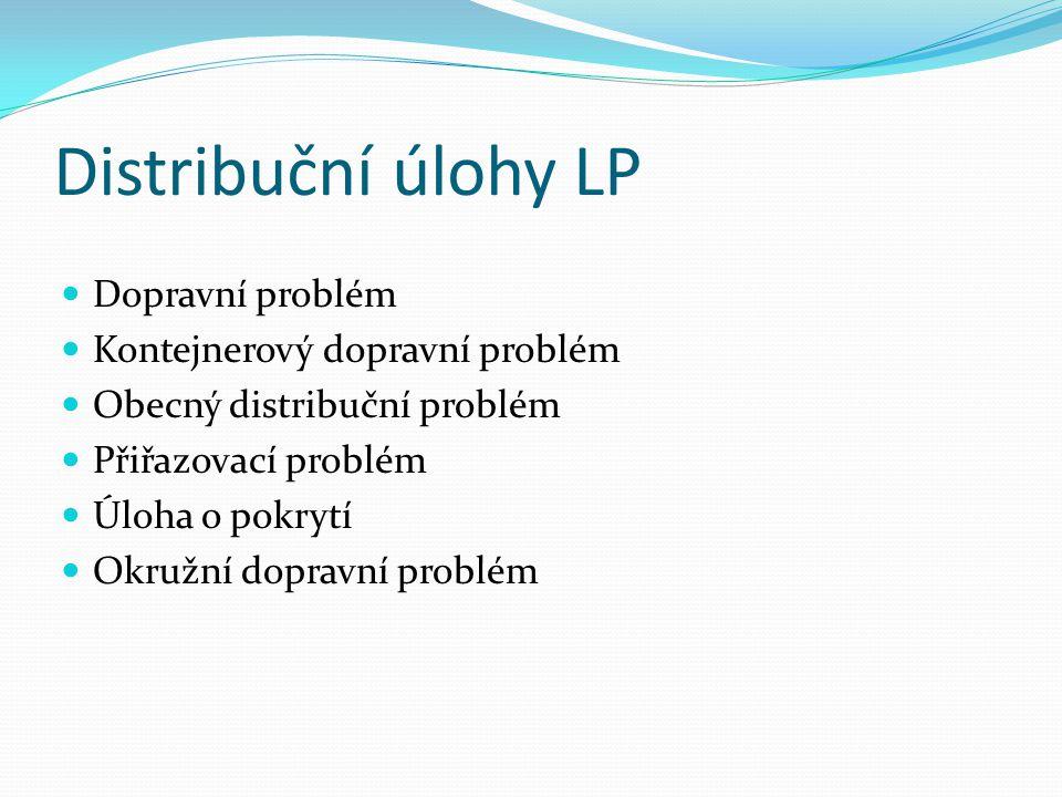 Distribuční úlohy LP Dopravní problém Kontejnerový dopravní problém Obecný distribuční problém Přiřazovací problém Úloha o pokrytí Okružní dopravní pr