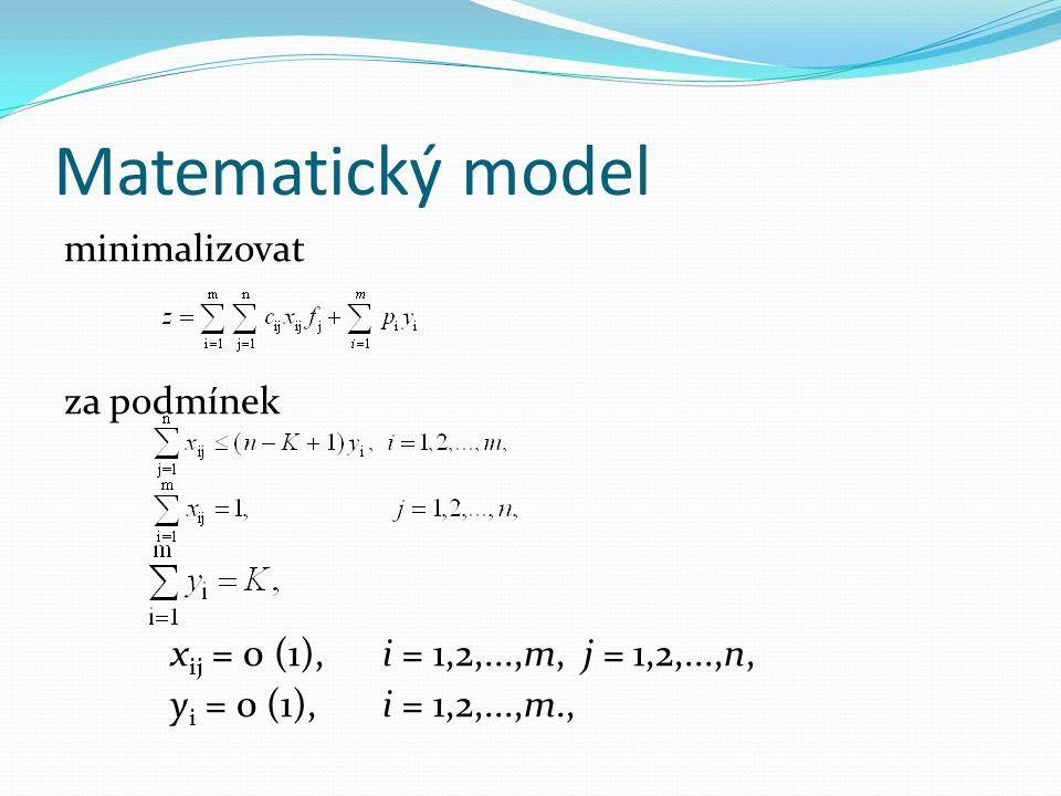 Matematický model minimalizovat za podmínek x ij = 0 (1),i = 1,2,...,m, j = 1,2,...,n, y i = 0 (1),i = 1,2,...,m.,