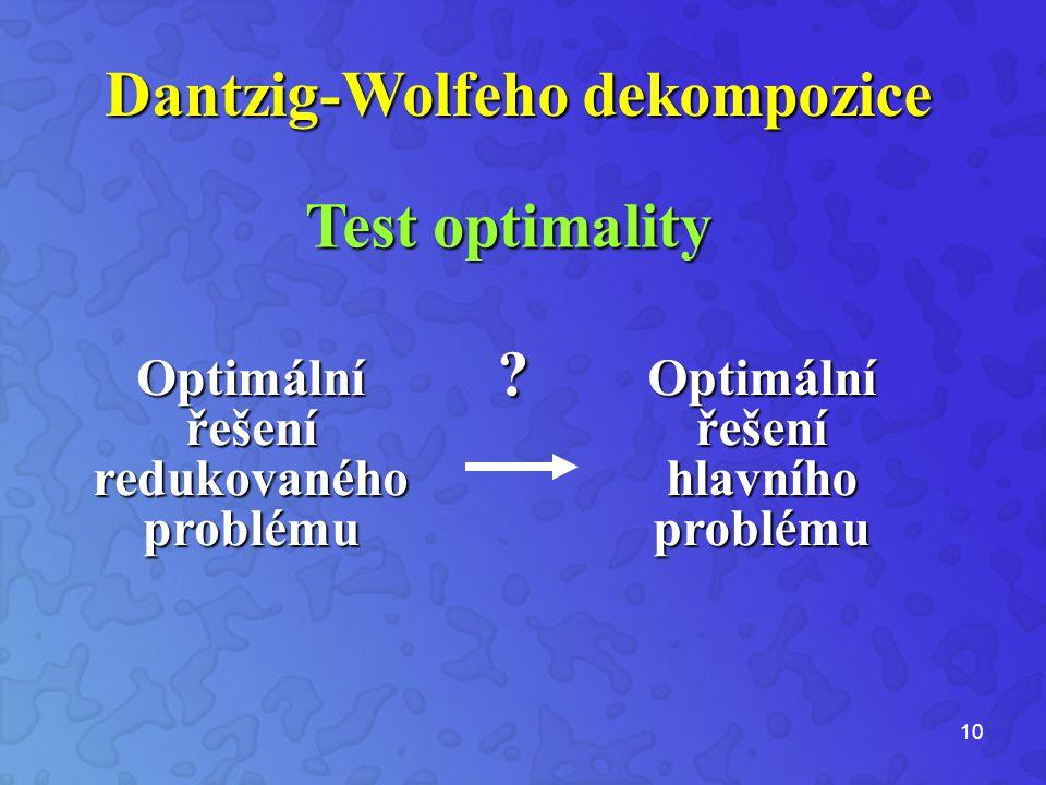 10 Test optimality Optimální řešení redukovaného problému .