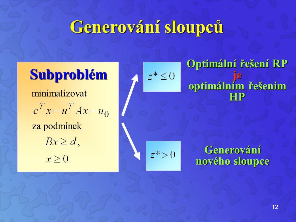 12 Subproblém Optimální řešení RP je optimálním řešením HP Generování nového sloupce Generování sloupců minimalizovat za podmínek