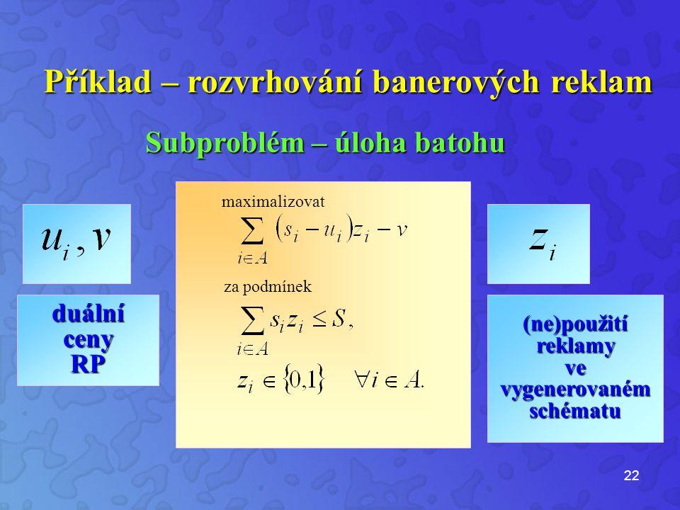 22 Příklad – rozvrhování banerových reklam Subproblém – úloha batohu Subproblém – úloha batohu maximalizovat za podmínek duální ceny RP (ne)použití reklamy ve vygenerovaném schématu