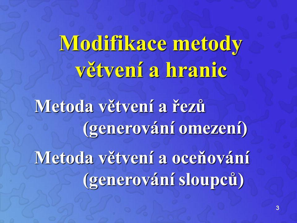 3 Modifikace metody větvení a hranic Metoda větvení a řezů (generování omezení) Metoda větvení a oceňování (generování sloupců)