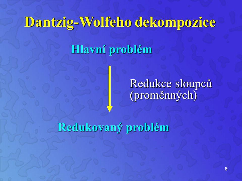 8 Dantzig-Wolfeho dekompozice Hlavní problém Redukovaný problém Redukce sloupců (proměnných)