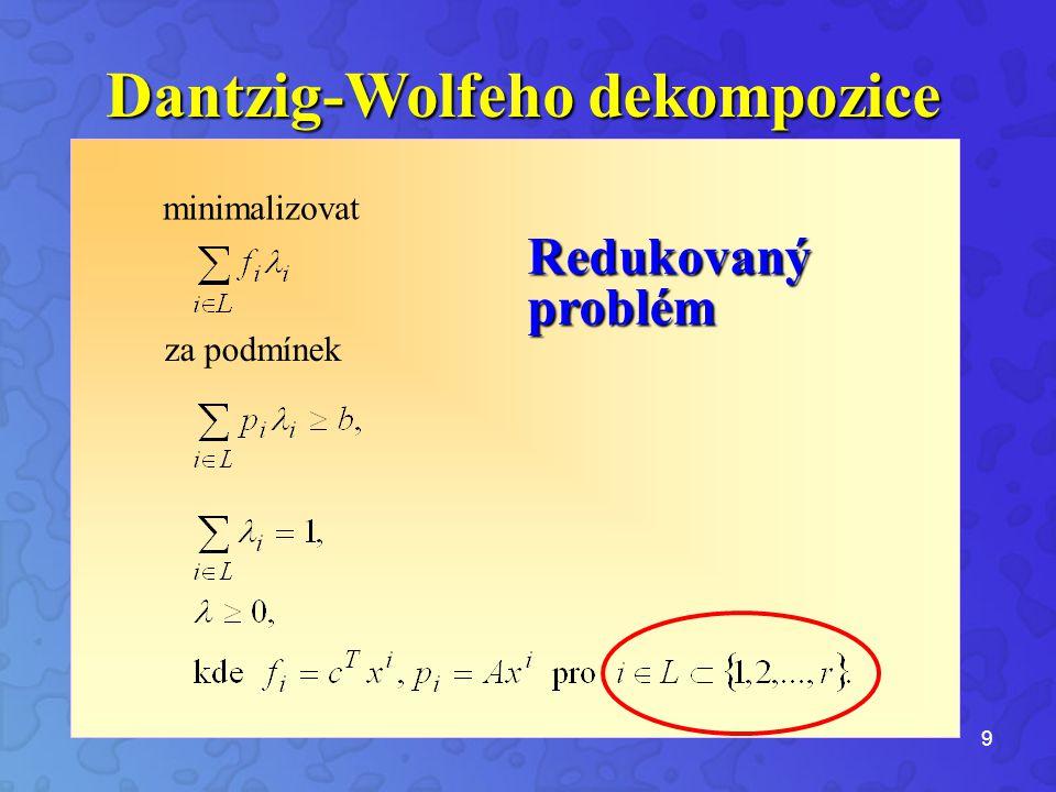 9 Redukovaný problém Dantzig-Wolfeho dekompozice minimalizovat za podmínek