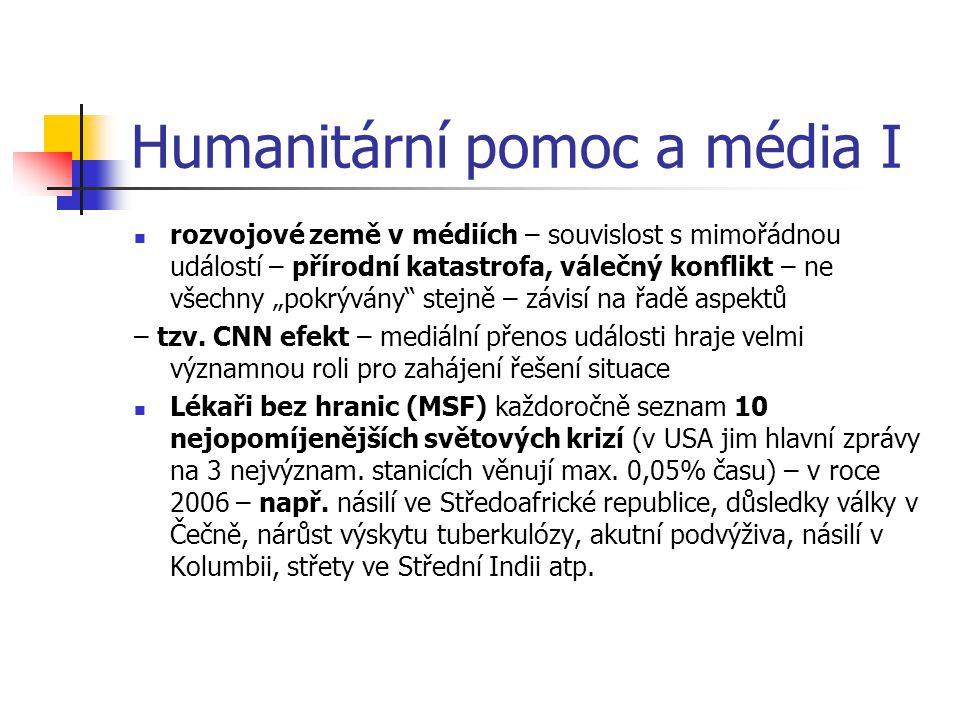 """Humanitární pomoc a média I rozvojové země v médiích – souvislost s mimořádnou událostí – přírodní katastrofa, válečný konflikt – ne všechny """"pokrýván"""