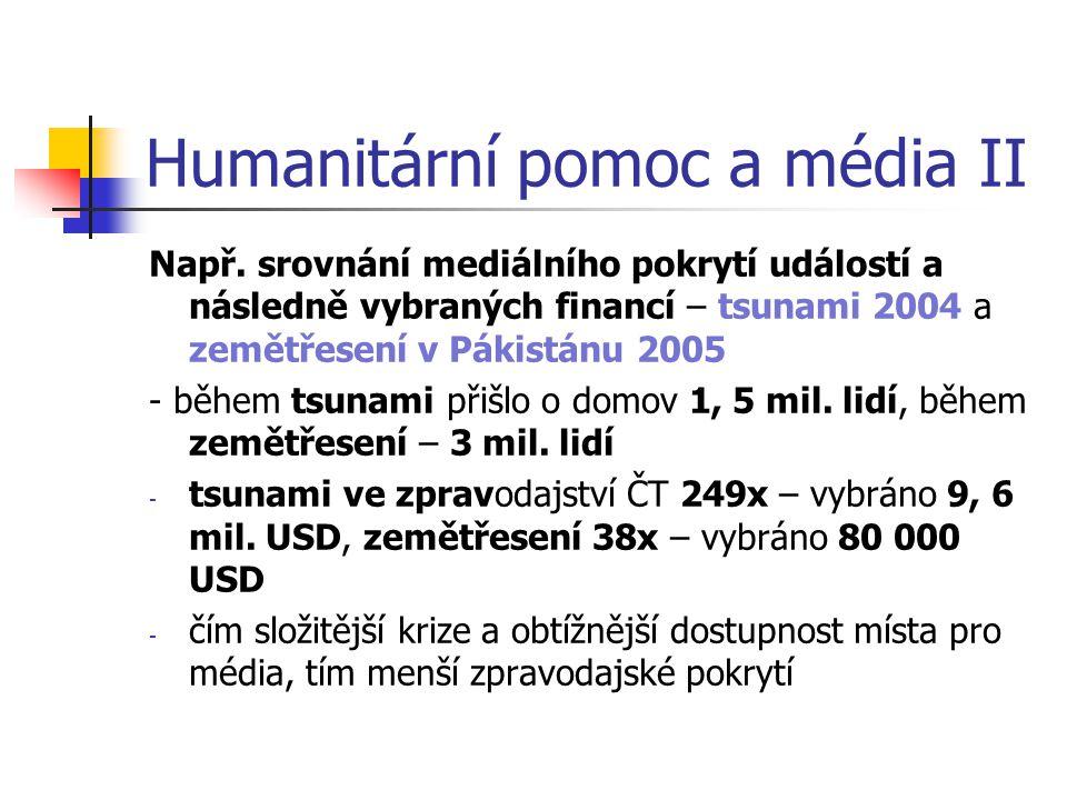 Humanitární pomoc a média II Např. srovnání mediálního pokrytí událostí a následně vybraných financí – tsunami 2004 a zemětřesení v Pákistánu 2005 - b