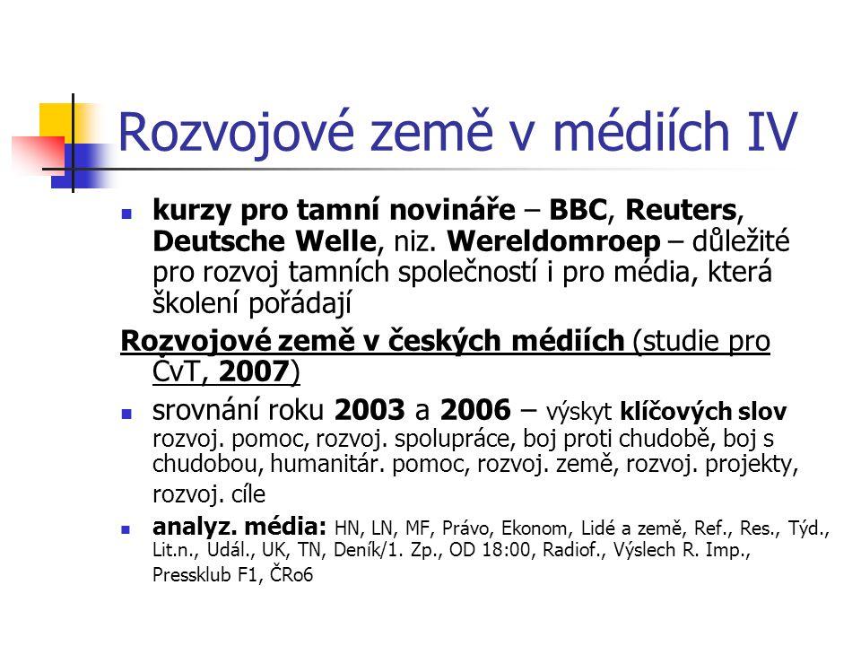 Rozvojové země v médiích IV kurzy pro tamní novináře – BBC, Reuters, Deutsche Welle, niz. Wereldomroep – důležité pro rozvoj tamních společností i pro
