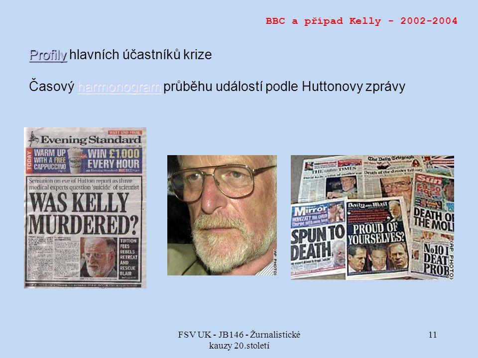 FSV UK - JB146 - Žurnalistické kauzy 20.století 11 BBC a případ Kelly - 2002-2004 Profily Profily Profily hlavních účastníků krize harmonogram harmonogram Časový harmonogram průběhu událostí podle Huttonovy zprávyharmonogram