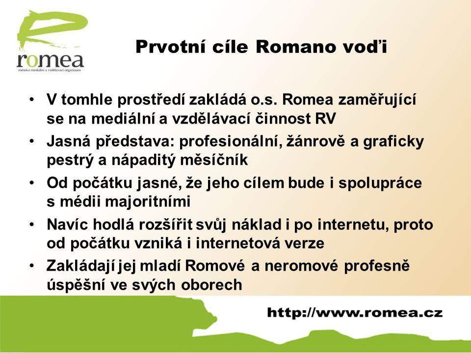 Prvotní cíle Romano voďi V tomhle prostředí zakládá o.s. Romea zaměřující se na mediální a vzdělávací činnost RV Jasná představa: profesionální, žánro