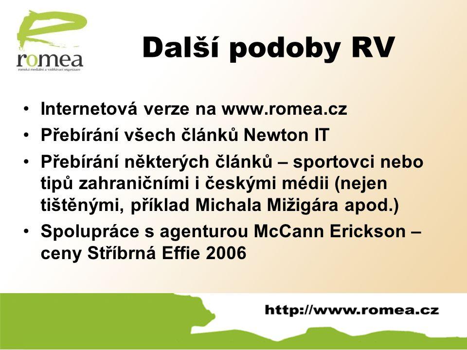 Internetová verze na www.romea.cz Přebírání všech článků Newton IT Přebírání některých článků – sportovci nebo tipů zahraničními i českými médii (neje