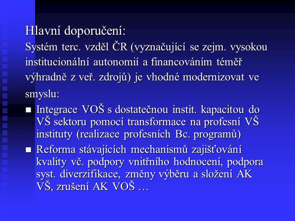 Hlavní doporučení: Systém terc. vzděl ČR (vyznačující se zejm.