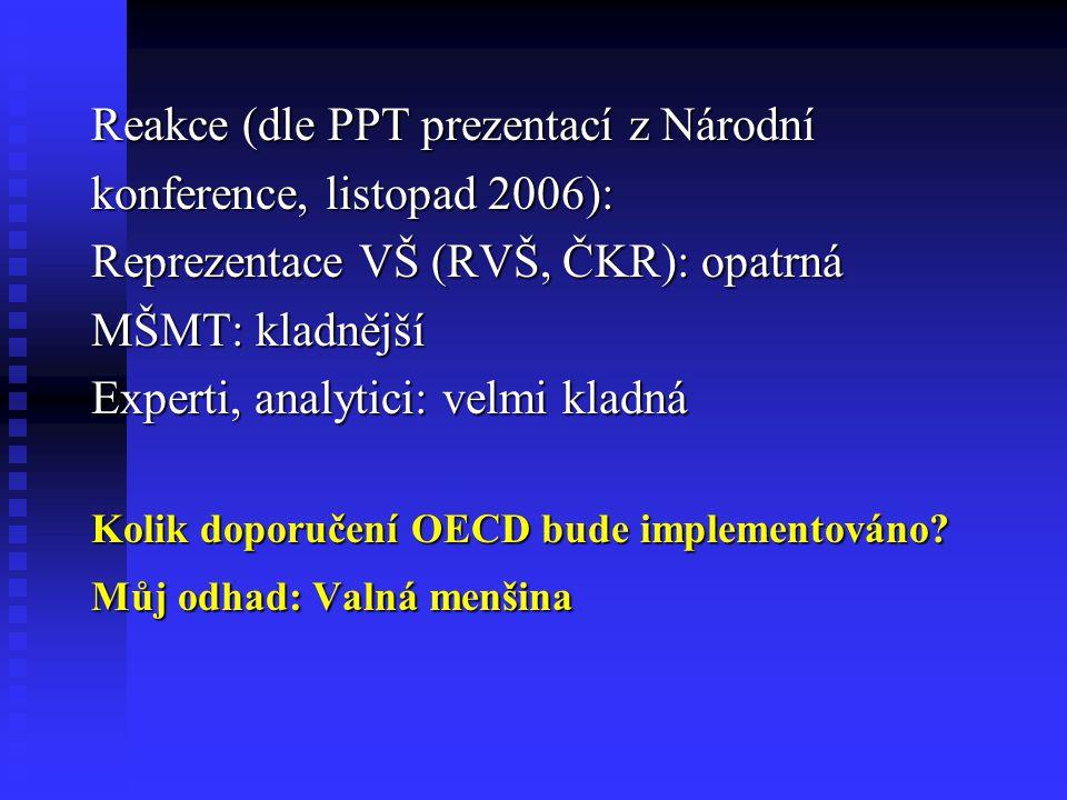 Reakce (dle PPT prezentací z Národní konference, listopad 2006): Reprezentace VŠ (RVŠ, ČKR): opatrná MŠMT: kladnější Experti, analytici: velmi kladná Kolik doporučení OECD bude implementováno.