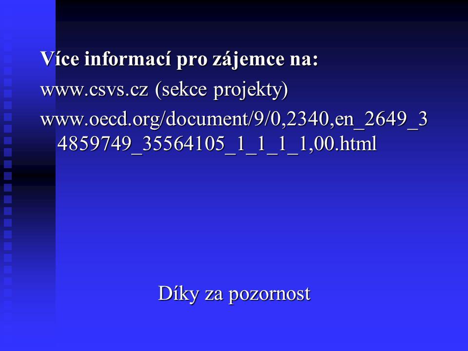 Více informací pro zájemce na: www.csvs.cz (sekce projekty) www.oecd.org/document/9/0,2340,en_2649_3 4859749_35564105_1_1_1_1,00.html Díky za pozornost