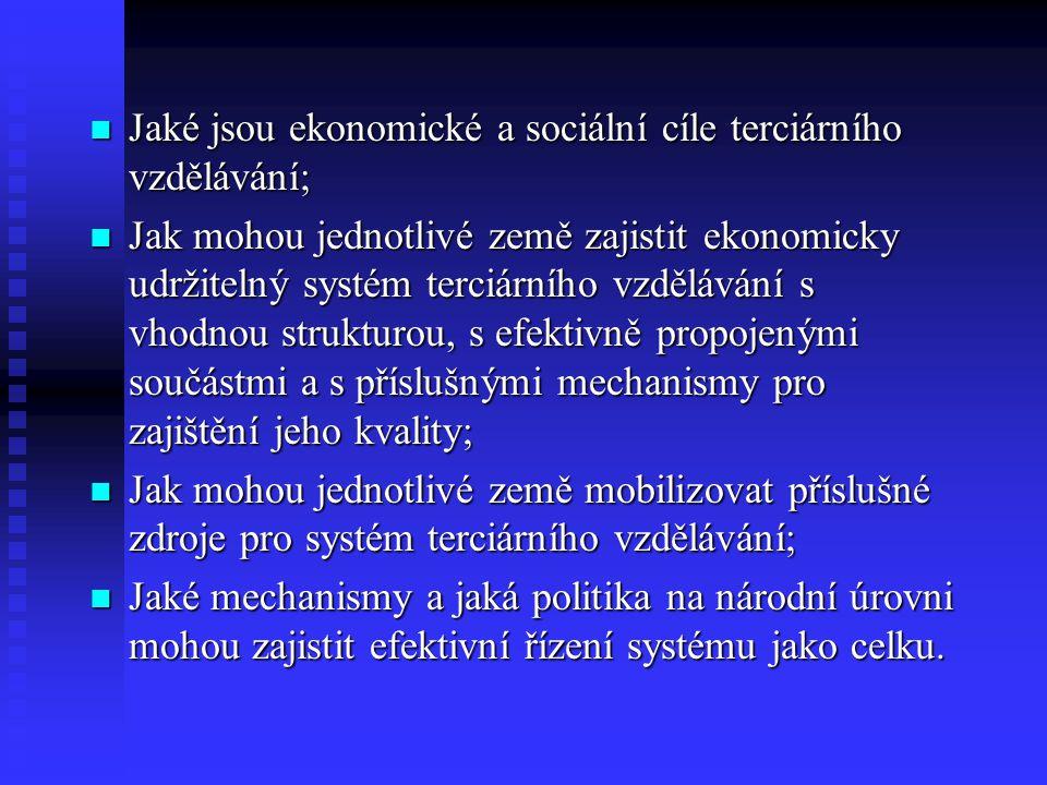 Jaké jsou ekonomické a sociální cíle terciárního vzdělávání; Jaké jsou ekonomické a sociální cíle terciárního vzdělávání; Jak mohou jednotlivé země zajistit ekonomicky udržitelný systém terciárního vzdělávání s vhodnou strukturou, s efektivně propojenými součástmi a s příslušnými mechanismy pro zajištění jeho kvality; Jak mohou jednotlivé země zajistit ekonomicky udržitelný systém terciárního vzdělávání s vhodnou strukturou, s efektivně propojenými součástmi a s příslušnými mechanismy pro zajištění jeho kvality; Jak mohou jednotlivé země mobilizovat příslušné zdroje pro systém terciárního vzdělávání; Jak mohou jednotlivé země mobilizovat příslušné zdroje pro systém terciárního vzdělávání; Jaké mechanismy a jaká politika na národní úrovni mohou zajistit efektivní řízení systému jako celku.