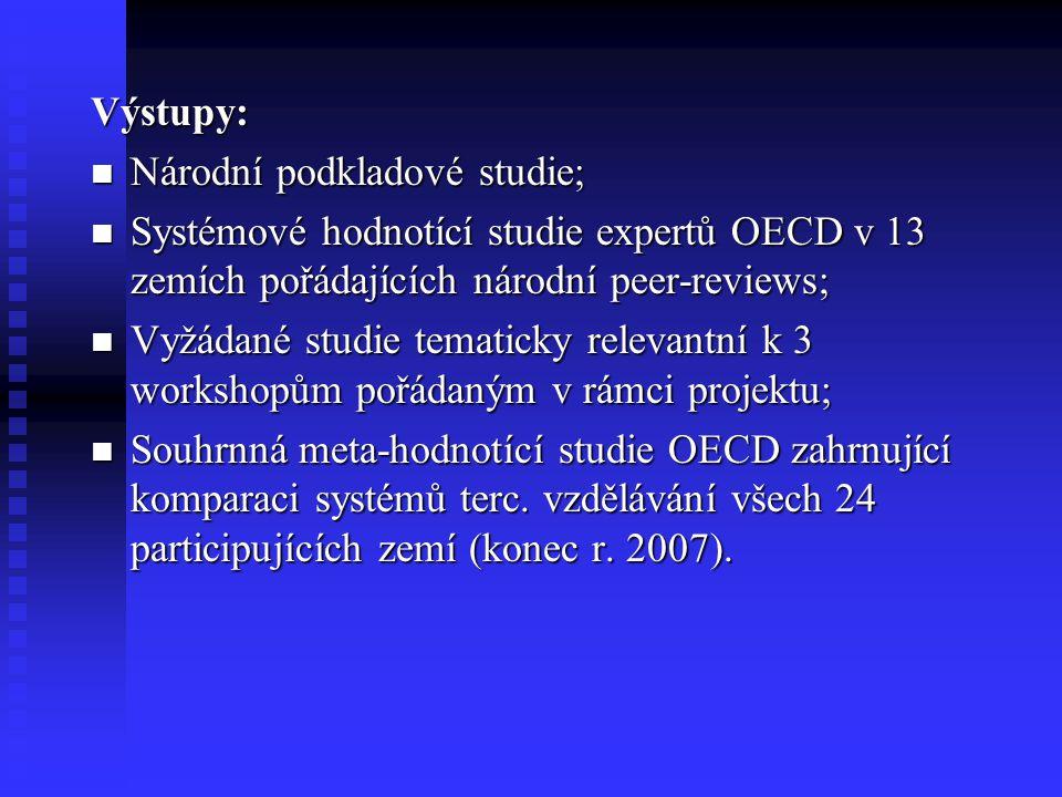 Výstupy: Národní podkladové studie; Národní podkladové studie; Systémové hodnotící studie expertů OECD v 13 zemích pořádajících národní peer-reviews; Systémové hodnotící studie expertů OECD v 13 zemích pořádajících národní peer-reviews; Vyžádané studie tematicky relevantní k 3 workshopům pořádaným v rámci projektu; Vyžádané studie tematicky relevantní k 3 workshopům pořádaným v rámci projektu; Souhrnná meta-hodnotící studie OECD zahrnující komparaci systémů terc.