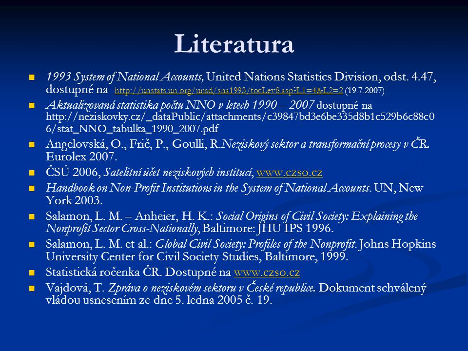 Literatura 1993 System of National Accounts, United Nations Statistics Division, odst.