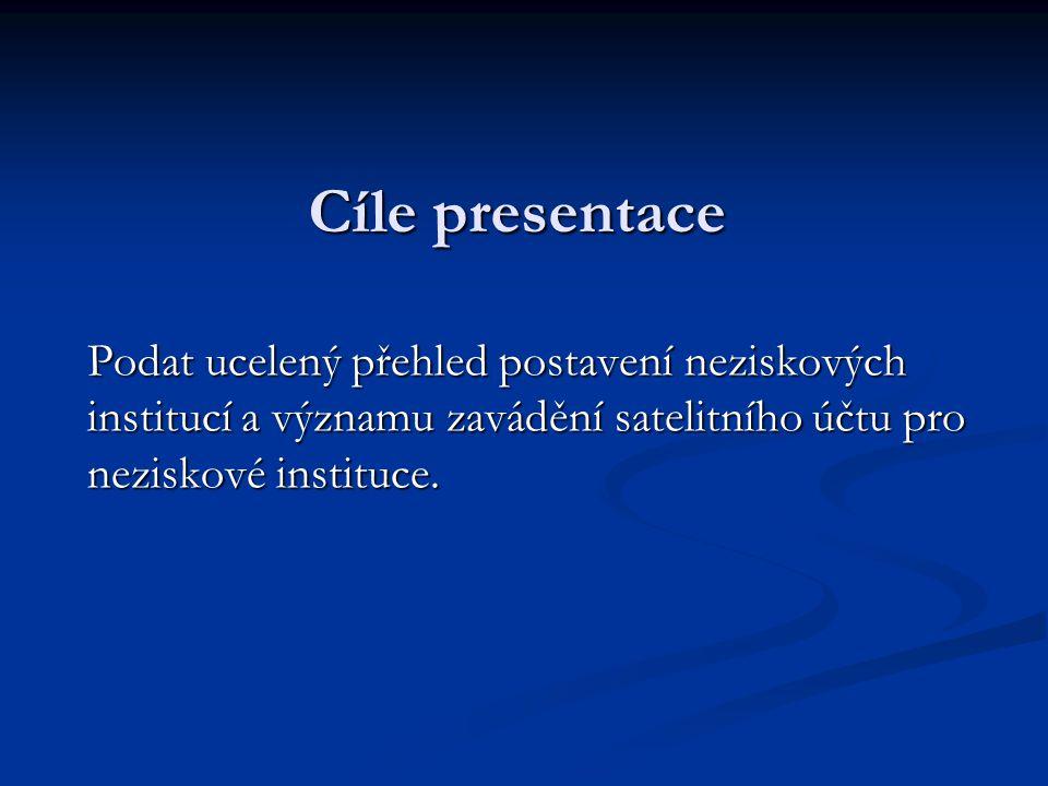 Cíle presentace Podat ucelený přehled postavení neziskových institucí a významu zavádění satelitního účtu pro neziskové instituce.