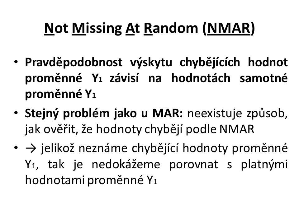 Not Missing At Random (NMAR) Pravděpodobnost výskytu chybějících hodnot proměnné Y 1 závisí na hodnotách samotné proměnné Y 1 Stejný problém jako u MA