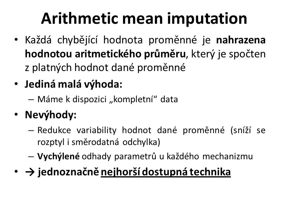 Arithmetic mean imputation Každá chybějící hodnota proměnné je nahrazena hodnotou aritmetického průměru, který je spočten z platných hodnot dané promě