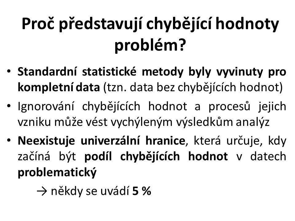 Proč představují chybějící hodnoty problém? Standardní statistické metody byly vyvinuty pro kompletní data (tzn. data bez chybějících hodnot) Ignorová
