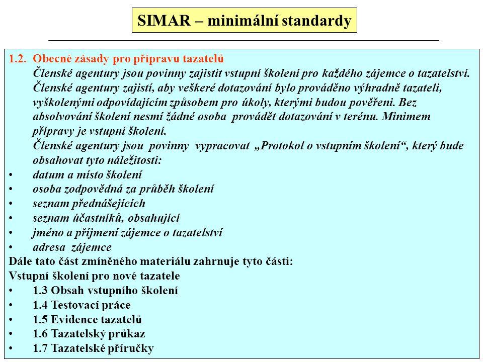 SIMAR – minimální standardy Minimální standardy SIMARu (vztahují se k): tazatelská síť sběr a kontrola pořizovaných dat kvalitativní výzkum mystery sh