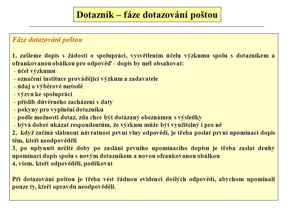 Dotazník zasílaný poštou (Výhody vs. Nevýhody) Dotazník zasílaný poštou Výhody použití  u populací řídce rozptýlených, což vylučuje zkreslení zapříči