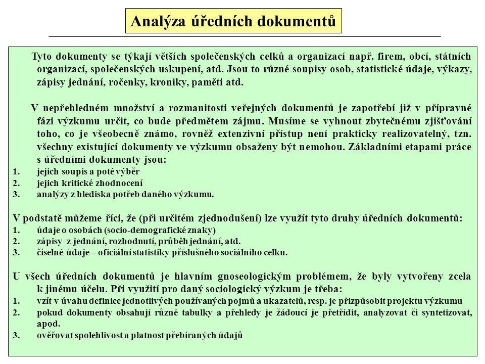 Analýza osobních dokumentů Tato technika podobná zúčastněnému pozorování, informace má charakter spontánního projevu, velmi často odráží hloubku vcítě