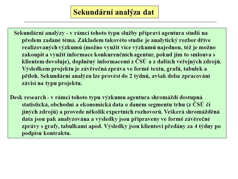 Sekundární analýza dat Je to nejlevnější způsob získávání dat, data jsou dostupná (někdy je nutné žádat svolení autora). Sekundární analýza využívá in