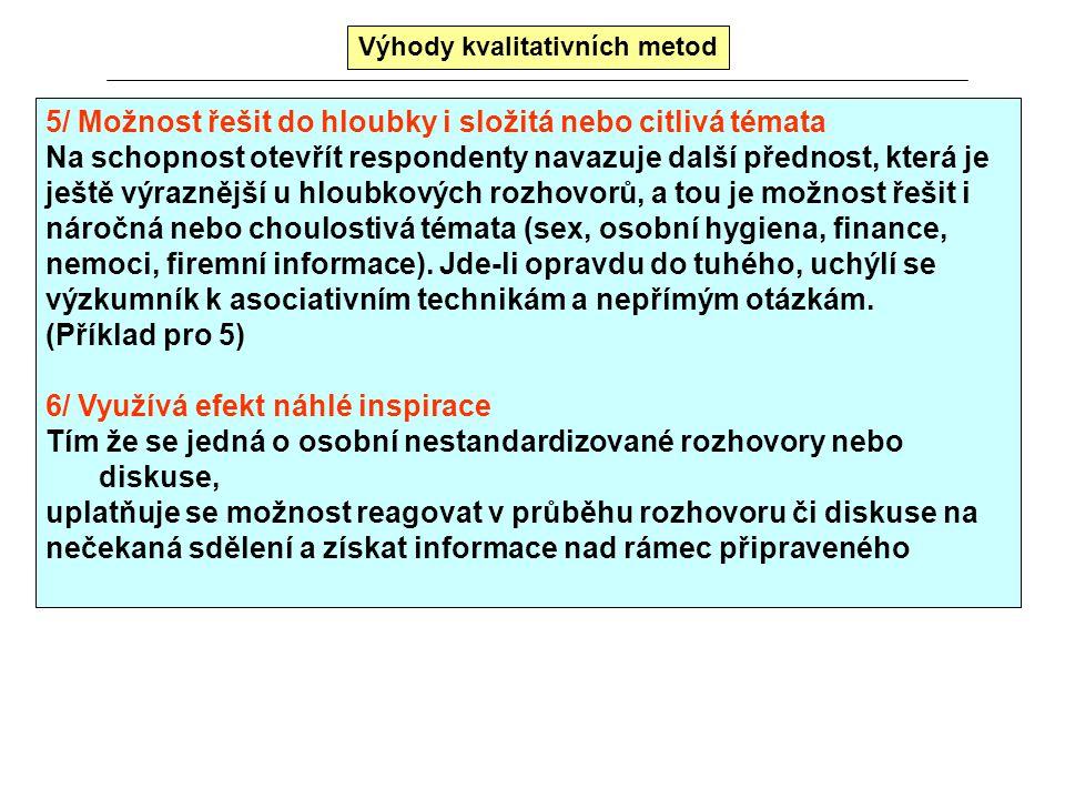 Výhody kvalitativních metod 3/ Koncentrovaná informace (obsáhnou 1 nebo 2 výzkumníci) S tím co již bylo řečeno souvisí i další přednost. Celý kvalitat