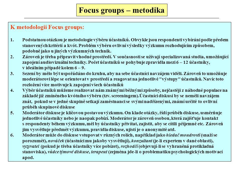 Focus groups – výhody a nevýhody Výhody: 1.Předně FG jsou sociálně orientovanou výzkumnou technikou, která zohledňuje vzájemné ovlivňování, interakce.
