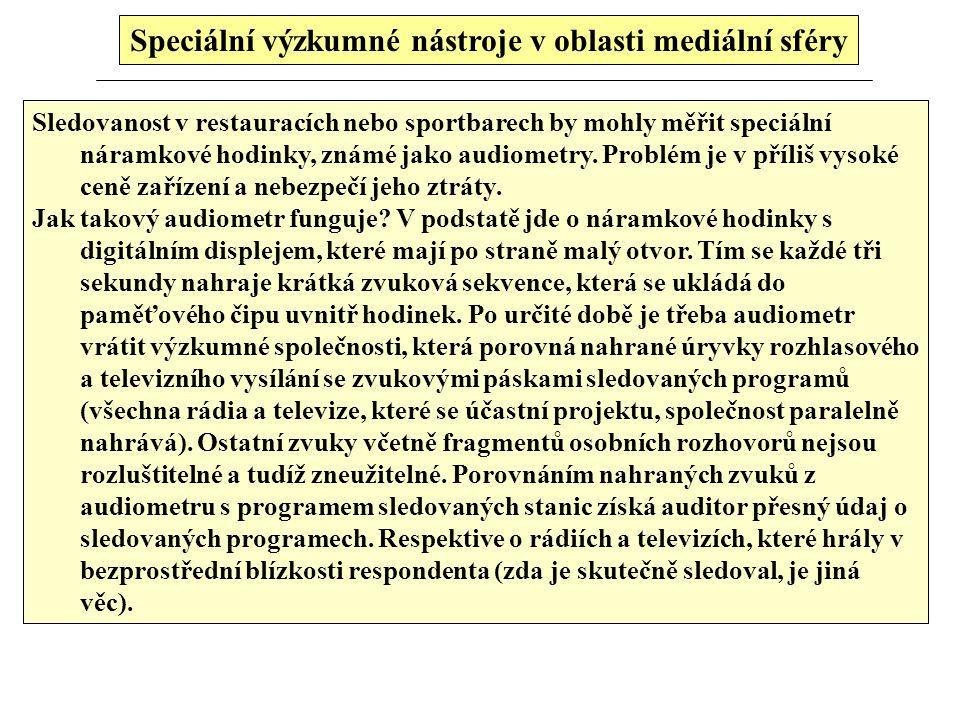 Speciální výzkmné nástroje v oblasti mediální sféry 1.Klasický způsob (tisk, rozhlas, TV) dotazování v populaci Dotazování - empirická šetření, s dota