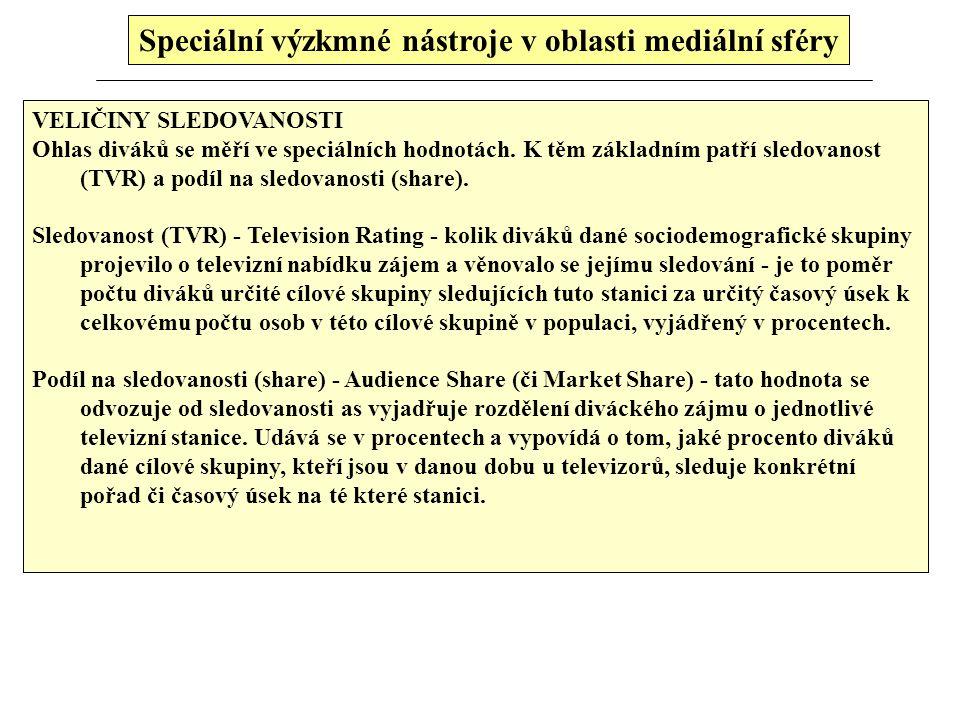 Speciální výzkmné nástroje v oblasti mediální sféry Pro velké televize měření pomocí audiometrů není žádné terno. Za prvé: hodinky nahrávají jen jedno