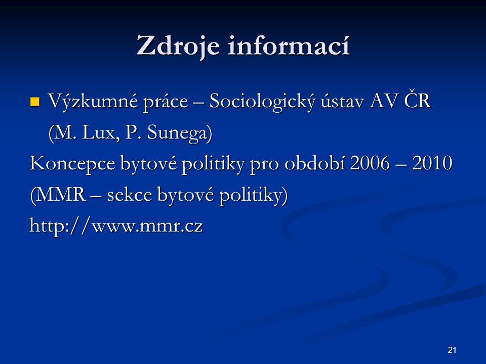 21 Zdroje informací Výzkumné práce – Sociologický ústav AV ČR Výzkumné práce – Sociologický ústav AV ČR (M.