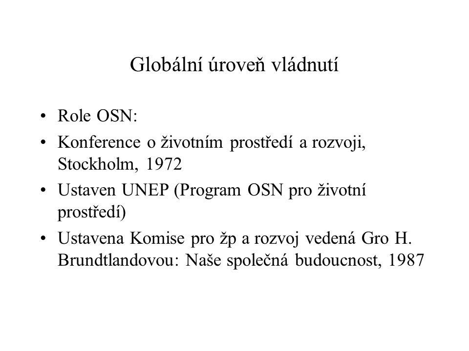 Globální úroveň vládnutí Role OSN: Konference o životním prostředí a rozvoji, Stockholm, 1972 Ustaven UNEP (Program OSN pro životní prostředí) Ustavena Komise pro žp a rozvoj vedená Gro H.