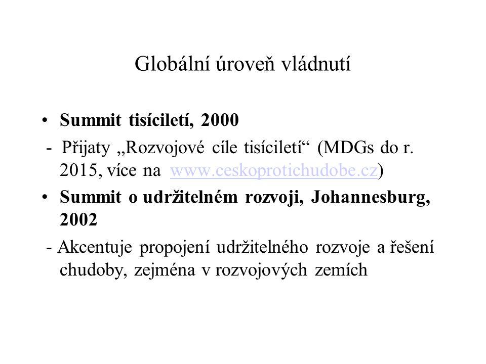 """Globální úroveň vládnutí Summit tisíciletí, 2000 - Přijaty """"Rozvojové cíle tisíciletí (MDGs do r."""