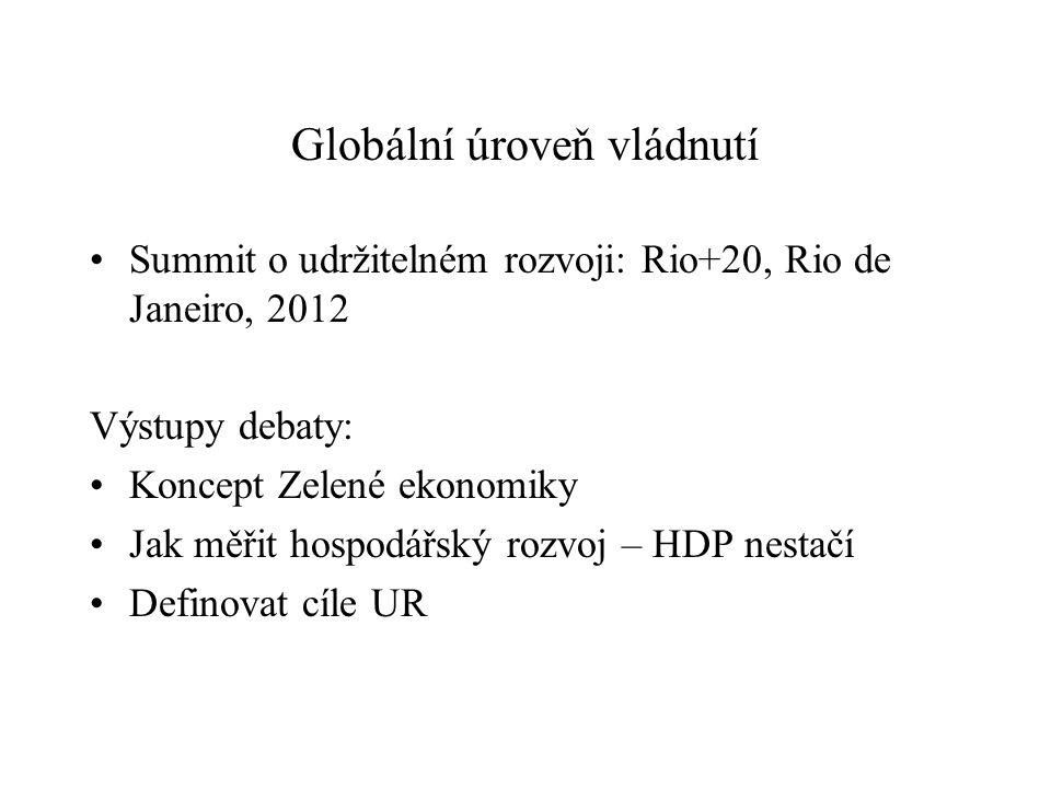 Globální úroveň vládnutí Summit o udržitelném rozvoji: Rio+20, Rio de Janeiro, 2012 Výstupy debaty: Koncept Zelené ekonomiky Jak měřit hospodářský rozvoj – HDP nestačí Definovat cíle UR