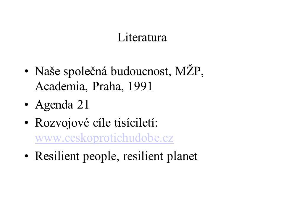 Literatura Naše společná budoucnost, MŽP, Academia, Praha, 1991 Agenda 21 Rozvojové cíle tisíciletí: www.ceskoprotichudobe.cz www.ceskoprotichudobe.cz Resilient people, resilient planet