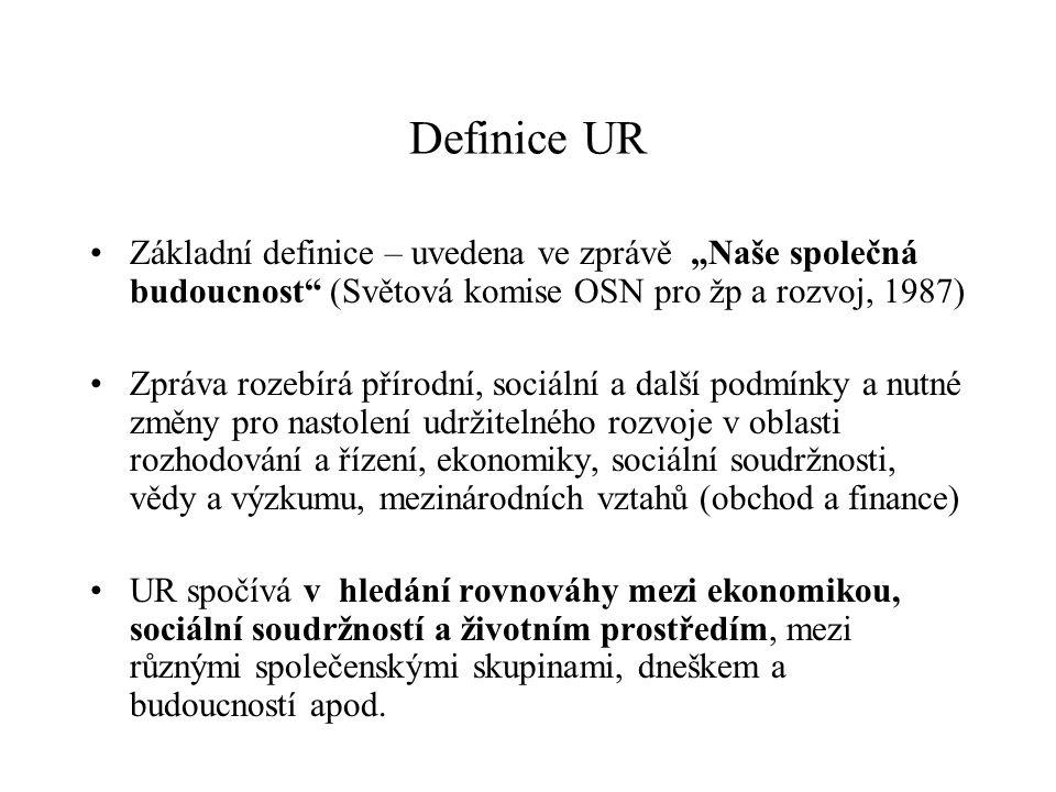 """Definice UR Základní definice – uvedena ve zprávě """"Naše společná budoucnost (Světová komise OSN pro žp a rozvoj, 1987) Zpráva rozebírá přírodní, sociální a další podmínky a nutné změny pro nastolení udržitelného rozvoje v oblasti rozhodování a řízení, ekonomiky, sociální soudržnosti, vědy a výzkumu, mezinárodních vztahů (obchod a finance) UR spočívá v hledání rovnováhy mezi ekonomikou, sociální soudržností a životním prostředím, mezi různými společenskými skupinami, dneškem a budoucností apod."""