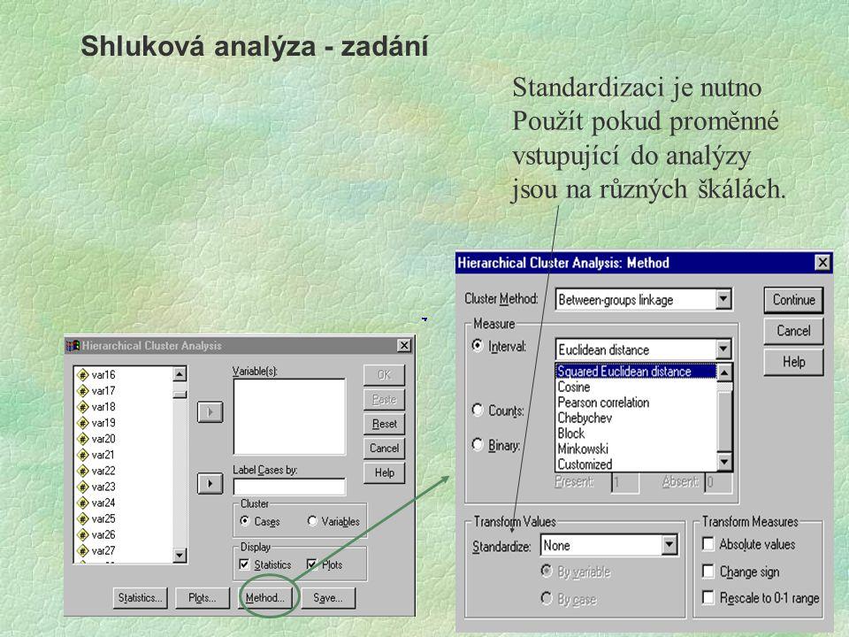 Shluková analýza - zadání Standardizaci je nutno Použít pokud proměnné vstupující do analýzy jsou na různých škálách.