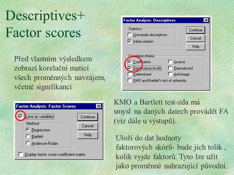Varimax – nejčateji používaná rotace-viz přednáška.