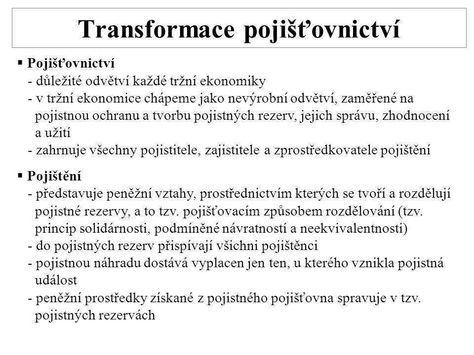Transformace pojišťovnictví  Pojišťovnictví - důležité odvětví každé tržní ekonomiky - v tržní ekonomice chápeme jako nevýrobní odvětví, zaměřené na