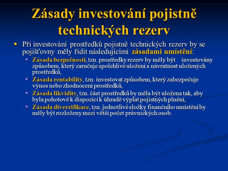 Zásady investování pojistně technických rezerv  Při investování prostředků pojistně technických rezerv by se pojišťovny měly řídit následujícími zásadami umístění:  Zásada bezpečnosti, tzn.