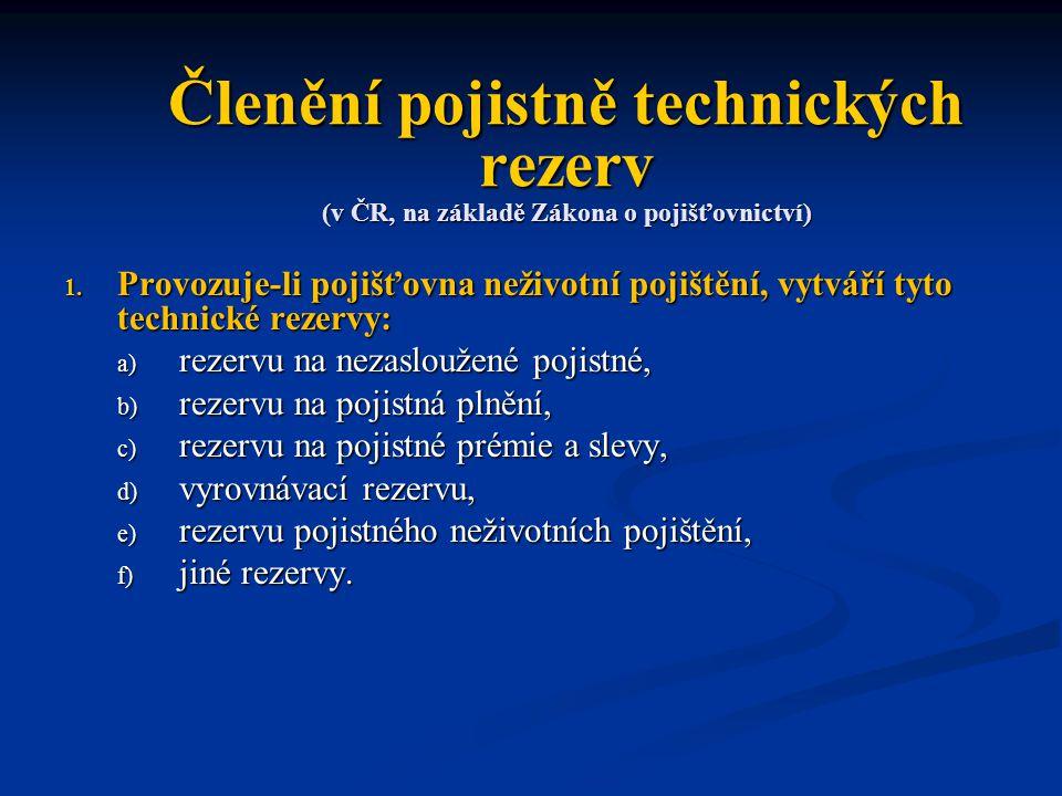 Členění pojistně technických rezerv (v ČR, na základě Zákona o pojišťovnictví) 1.