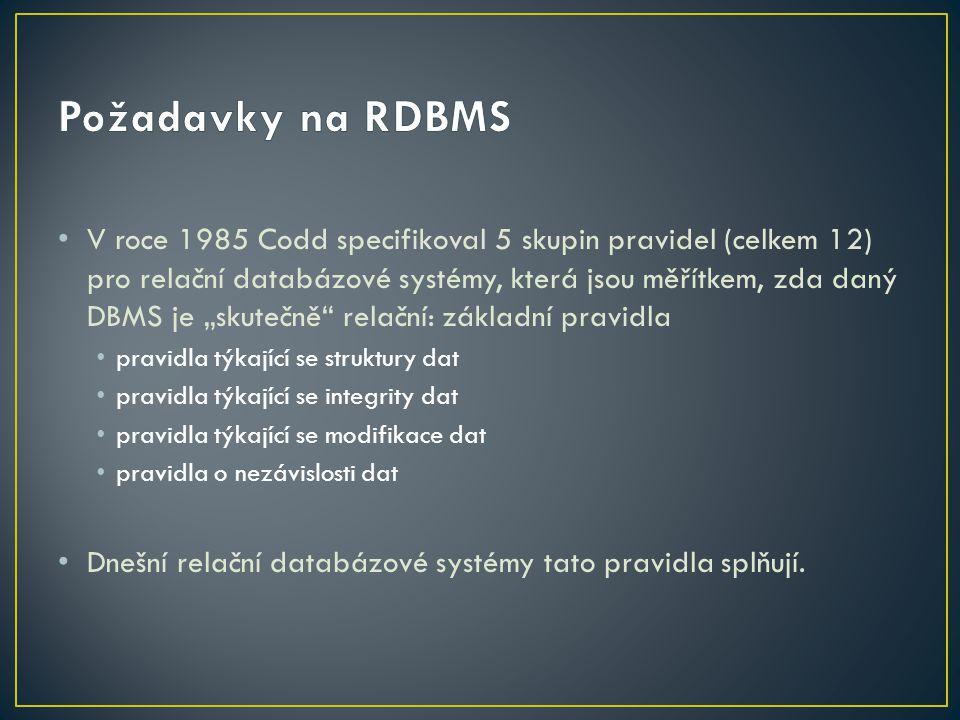 """V roce 1985 Codd specifikoval 5 skupin pravidel (celkem 12) pro relační databázové systémy, která jsou měřítkem, zda daný DBMS je """"skutečně"""" relační:"""