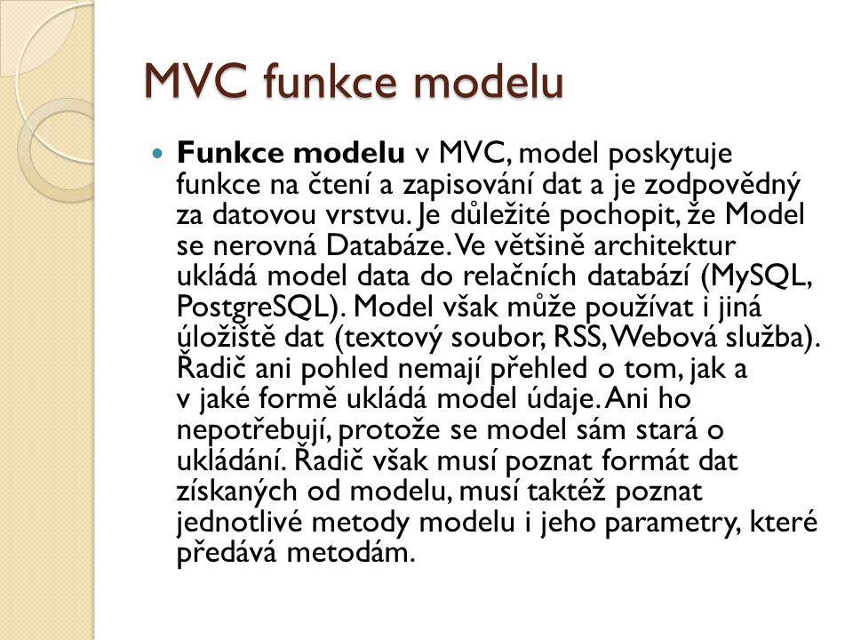 MVC funkce modelu Funkce modelu v MVC, model poskytuje funkce na čtení a zapisování dat a je zodpovědný za datovou vrstvu.
